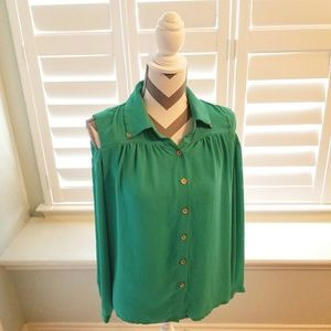 Skies are Blue Cold Shoulder Button Down Blouse